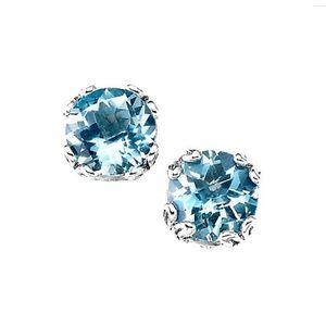 Blue Topaz Sterling Silver 925 Studs Earrings